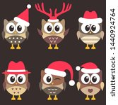 set of cute brown owls with... | Shutterstock . vector #1440924764