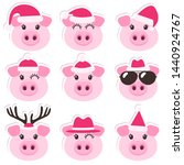 cartoon pigs with christmas... | Shutterstock . vector #1440924767
