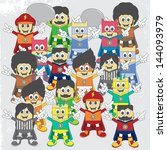 adorable cartoon boy group | Shutterstock .eps vector #144093979