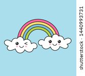 rainbow and clouds with cute... | Shutterstock .eps vector #1440993731