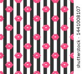 pattern with red lips and black ... | Shutterstock . vector #1441008107