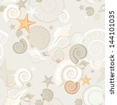 summer background with shells.... | Shutterstock .eps vector #144101035