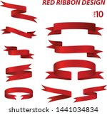 red ribbon sets vector... | Shutterstock .eps vector #1441034834