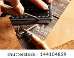 leather crafting tools still... | Shutterstock . vector #144104839