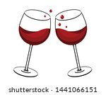 red wine glasses toast  vector... | Shutterstock .eps vector #1441066151