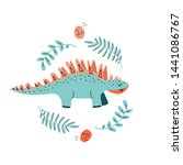 Card Template With Cute Dino....