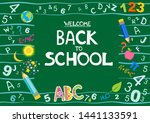 welcome back to school text.... | Shutterstock .eps vector #1441133591