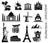 set vector black and white... | Shutterstock .eps vector #144115549
