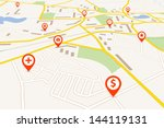 map with red pin pointers | Shutterstock .eps vector #144119131