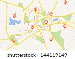 map with red pin pointers | Shutterstock .eps vector #144119149