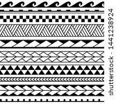 set of maori ornaments... | Shutterstock .eps vector #1441238924
