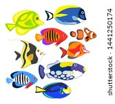reef fishes in paper art style. ... | Shutterstock .eps vector #1441250174