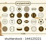 vintage set of sports balls | Shutterstock .eps vector #144125221