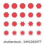 red starburst badges set. blank ...
