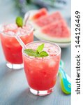 watermelon smoothie on blue... | Shutterstock . vector #144126469