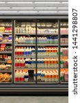 Small photo of Dairy product in Glass door fridge Horizontal photo mockup yogurt and milk and plastic diary bottles in vertical freezer at supermarket. Suitable for presenting new Dairy packaging or label design