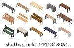Bench Icons Set. Isometric Set...