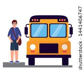 boy student and bus back to...   Shutterstock .eps vector #1441406747