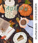 cozy autumn background. cute... | Shutterstock .eps vector #1441413854