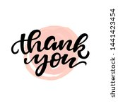thank you card with pink brush... | Shutterstock . vector #1441423454
