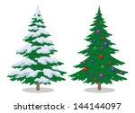 set of christmas fir trees with ...