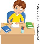 Cartoon Little Boy Studying On...