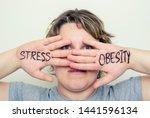 Stress. Overweight Woman....
