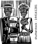 woodcut style mexican day of... | Shutterstock . vector #144161281