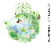 Watercolor Painting Pond  ...