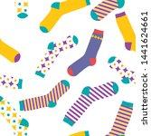 multi colored socks on a white...   Shutterstock .eps vector #1441624661