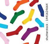 multi colored socks on a white...   Shutterstock .eps vector #1441624664
