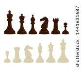 dark and light chess set on...   Shutterstock .eps vector #1441631687