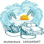 time to travel summer holidays... | Shutterstock .eps vector #1441645697