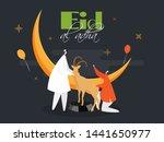 cartoon of islamic man and goat ... | Shutterstock .eps vector #1441650977