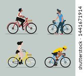 man and woman riding a bicycle... | Shutterstock .eps vector #1441671914