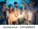 happy friends with drinks... | Shutterstock . vector #1441688894