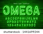 neon light 3d alphabet  extra... | Shutterstock .eps vector #1441699244