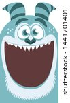 Stock photo cartoon angry monster face avatar halloween illustration yeti or bigfoot great for package 1441701401