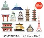 japan famous landmark icons.... | Shutterstock .eps vector #1441705574