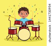 cute boy playing the drum on... | Shutterstock .eps vector #1441730954