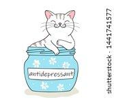 furry antidepressant. cute... | Shutterstock .eps vector #1441741577