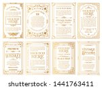 vintage gold vector set retro... | Shutterstock .eps vector #1441763411