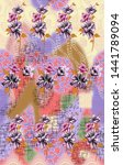 abstract flower pattern with    ... | Shutterstock . vector #1441789094