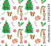 festive watercolor christmas... | Shutterstock . vector #1441811654