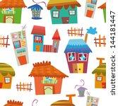 seamless house pattern | Shutterstock .eps vector #144181447