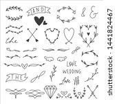 33 hand drawn wedding elements | Shutterstock .eps vector #1441824467