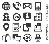 contact us icons set on white... | Shutterstock .eps vector #1441826681