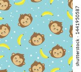 cute monkey with banana... | Shutterstock .eps vector #1441950587