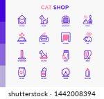 cat shop thin line icons set ... | Shutterstock .eps vector #1442008394
