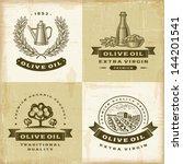 vintage olive oil labels set.... | Shutterstock .eps vector #144201541